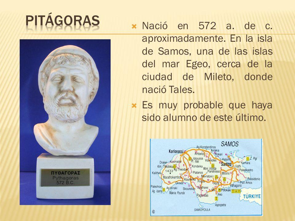 Nació en 572 a. de c. aproximadamente. En la isla de Samos, una de las islas del mar Egeo, cerca de la ciudad de Mileto, donde nació Tales. Es muy pro