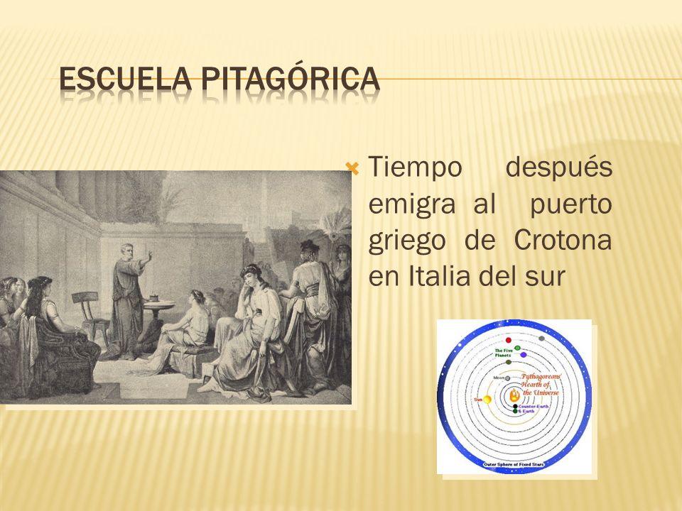Tiempo después emigra al puerto griego de Crotona en Italia del sur