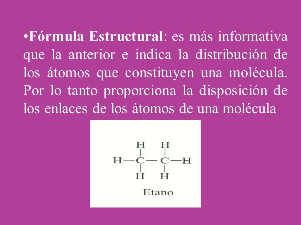 Fórmula Estructural: es más informativa que la anterior e indica la distribución de los átomos que constituyen una molécula. Por lo tanto proporciona