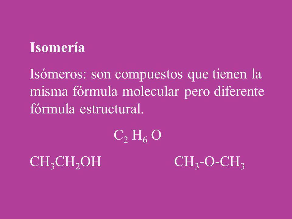 Isomería Isómeros: son compuestos que tienen la misma fórmula molecular pero diferente fórmula estructural. C 2 H 6 O CH 3 CH 2 OH CH 3 -O-CH 3