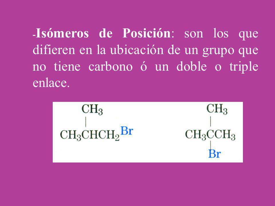- Isómeros de Posición: son los que difieren en la ubicación de un grupo que no tiene carbono ó un doble o triple enlace.