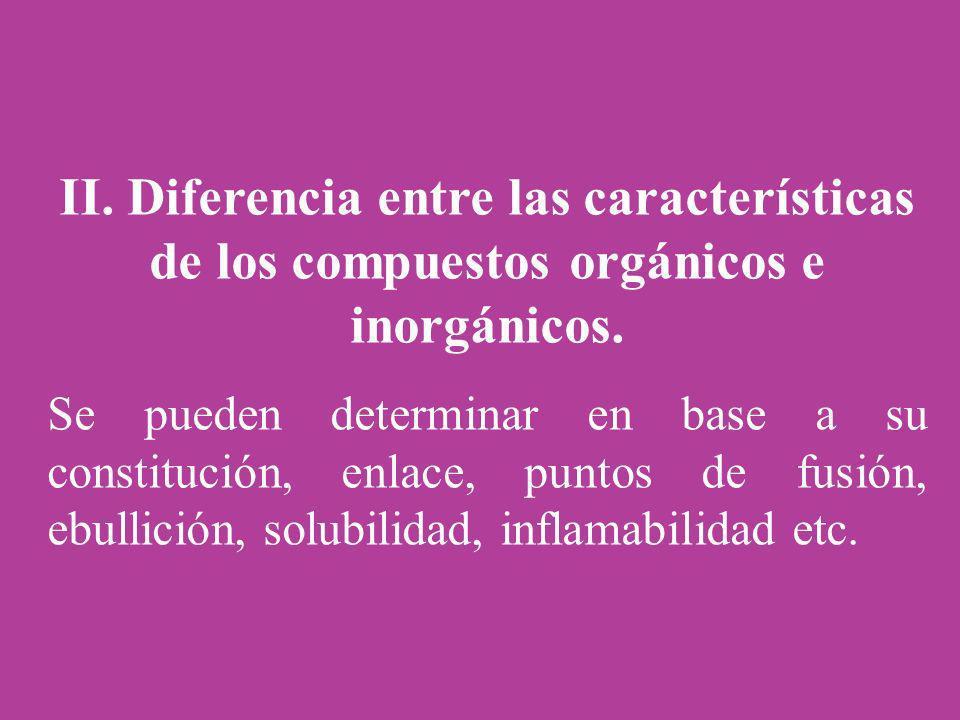II. Diferencia entre las características de los compuestos orgánicos e inorgánicos. Se pueden determinar en base a su constitución, enlace, puntos de
