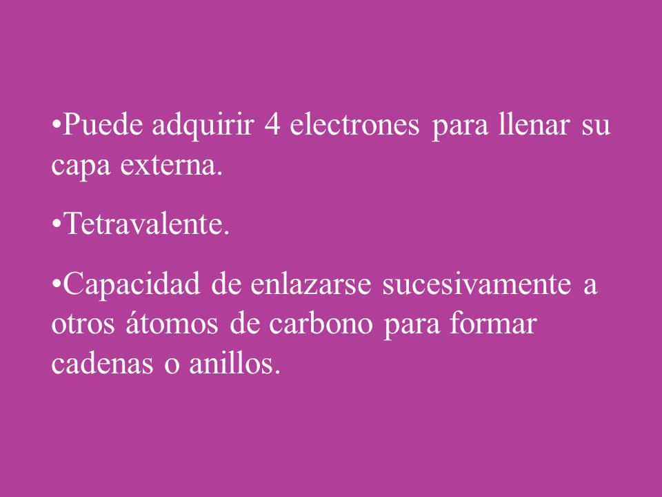 Puede adquirir 4 electrones para llenar su capa externa. Tetravalente. Capacidad de enlazarse sucesivamente a otros átomos de carbono para formar cade