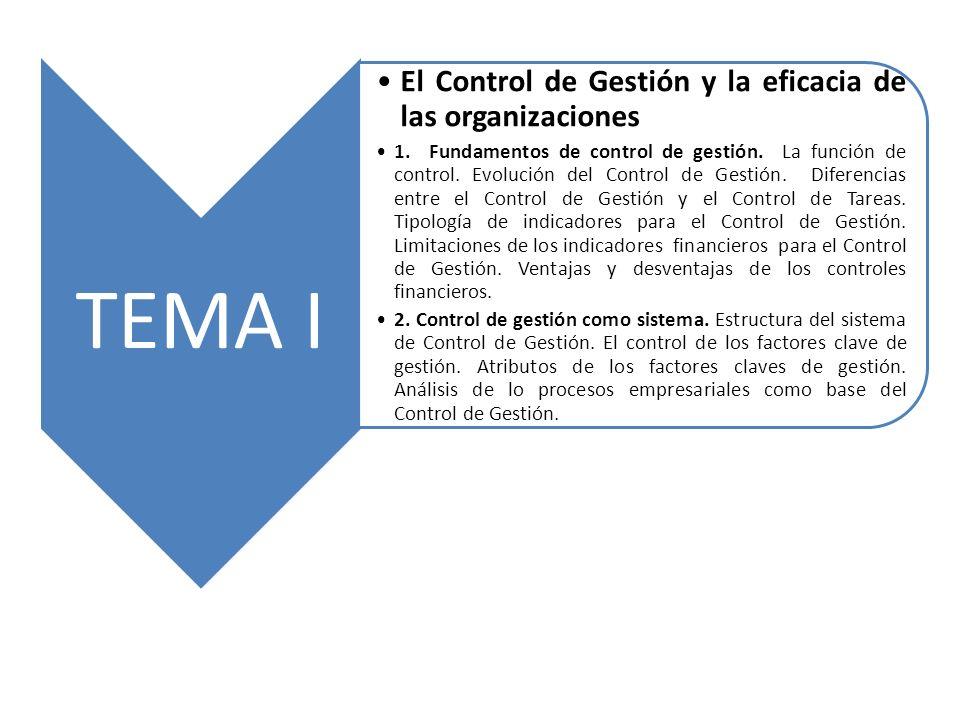 TEMA I El Control de Gestión y la eficacia de las organizaciones 1. Fundamentos de control de gestión. La función de control. Evolución del Control de