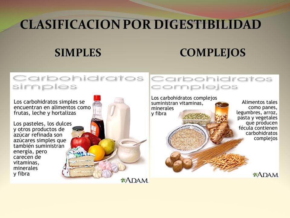 CLASIFICACION POR DIGESTIBILIDAD SIMPLES COMPLEJOS