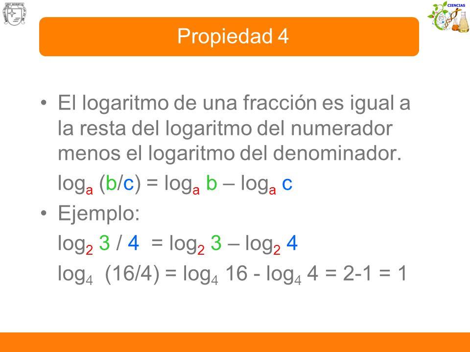 El logaritmo de una fracción es igual a la resta del logaritmo del numerador menos el logaritmo del denominador. log a (b/c) = log a b – log a c Ejemp