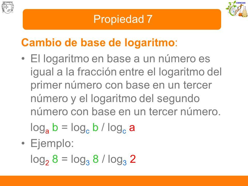 Cambio de base de logaritmo: El logaritmo en base a un número es igual a la fracción entre el logaritmo del primer número con base en un tercer número