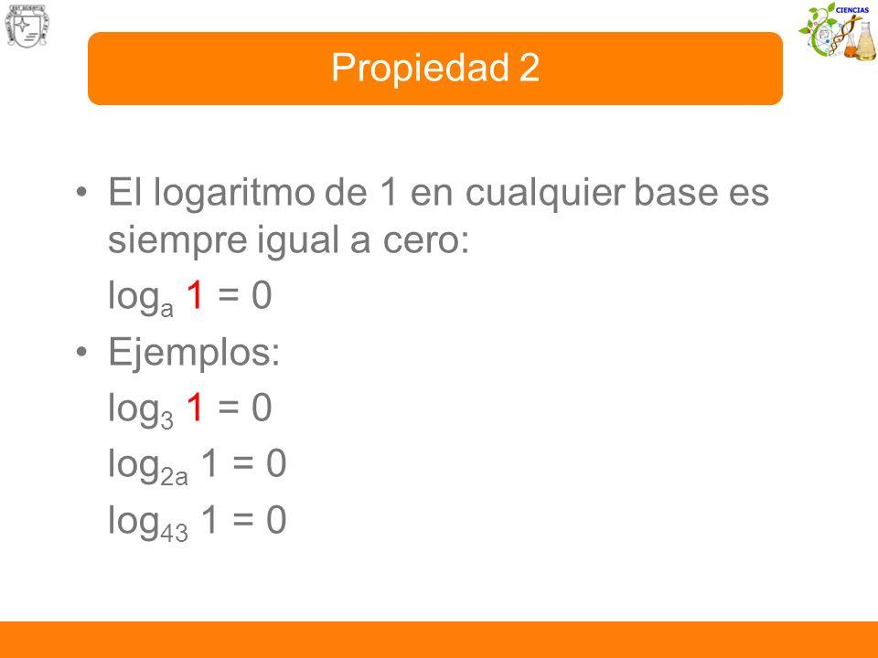 El logaritmo de 1 en cualquier base es siempre igual a cero: log a 1 = 0 Ejemplos: log 3 1 = 0 log 2a 1 = 0 log 43 1 = 0 Propiedad 2