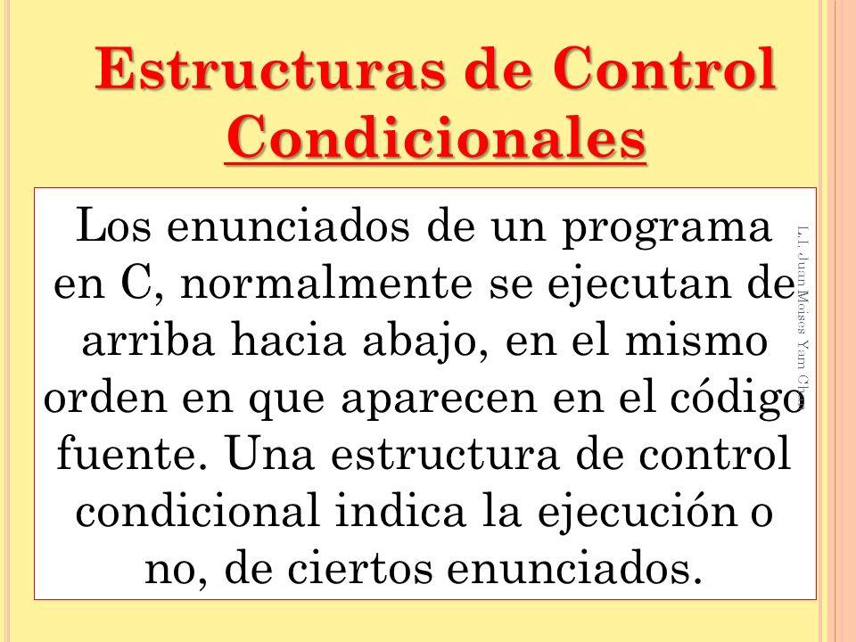 Simples if – else Estructuras de Control Condicionales Cuando se evalúa una condición, y se tienen solamente dos alternativas.