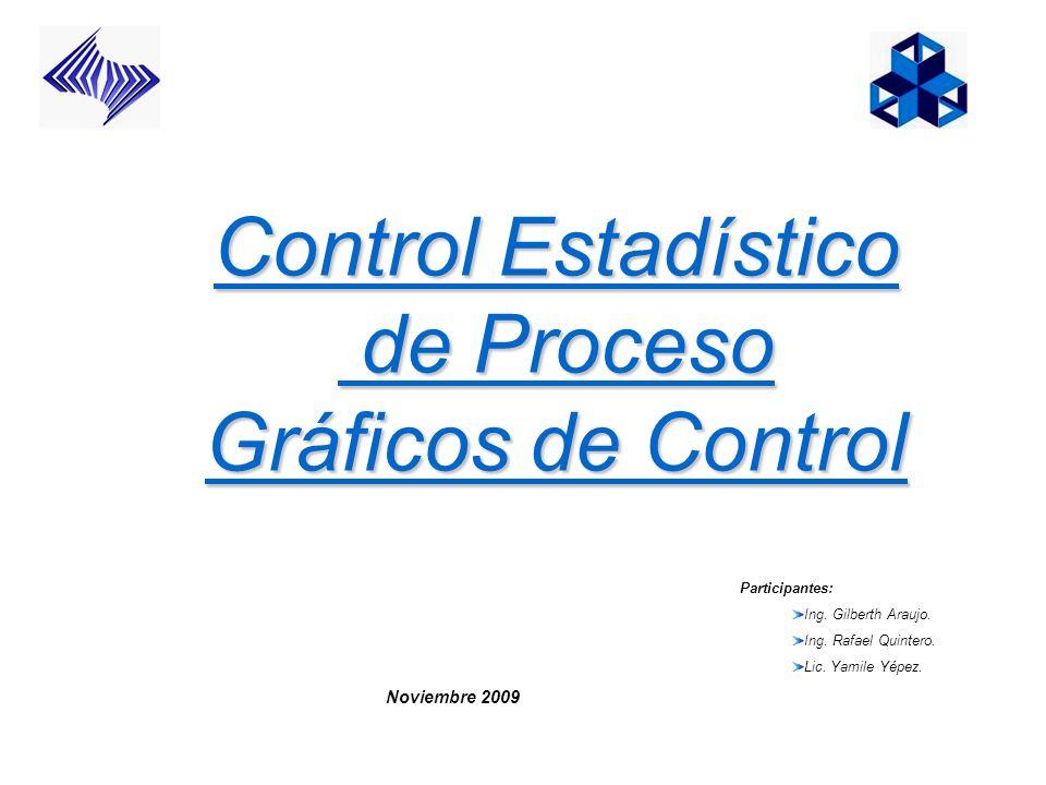 Control Estadístico de Proceso Gráficos de Control Participantes: Ing. Gilberth Araujo. Ing. Rafael Quintero. Lic. Yamile Yépez. Noviembre 2009