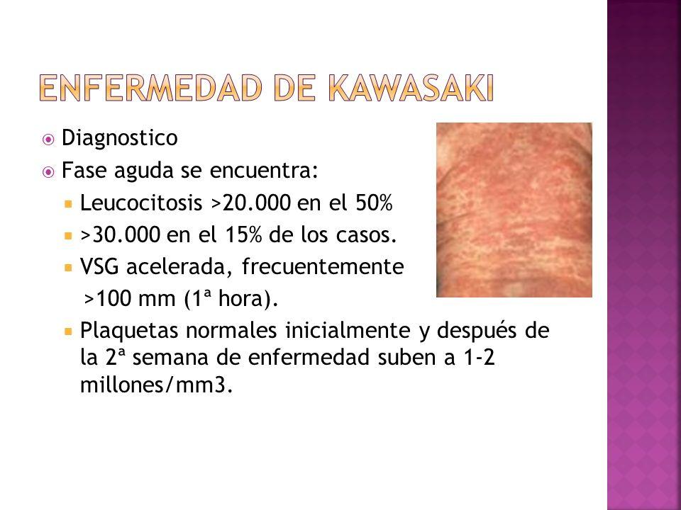 Diagnostico Fase aguda se encuentra: Leucocitosis >20.000 en el 50% >30.000 en el 15% de los casos. VSG acelerada, frecuentemente >100 mm (1ª hora). P