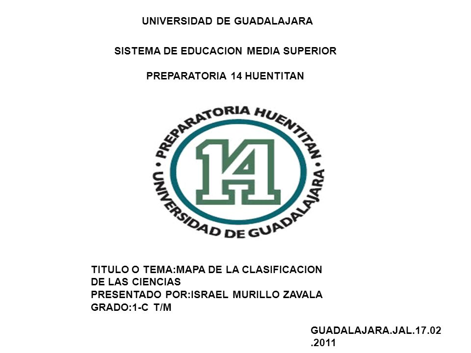 UNIVERSIDAD DE GUADALAJARA SISTEMA DE EDUCACION MEDIA SUPERIOR PREPARATORIA 14 HUENTITAN TITULO O TEMA:MAPA DE LA CLASIFICACION DE LAS CIENCIAS PRESEN