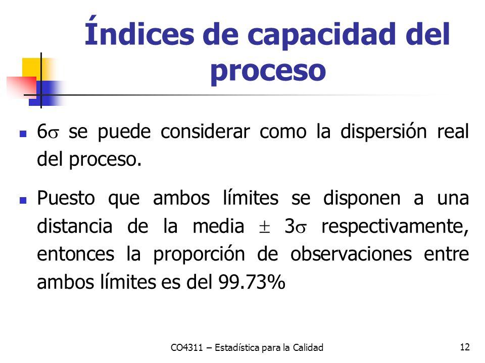 12 6 se puede considerar como la dispersión real del proceso. Puesto que ambos límites se disponen a una distancia de la media 3 respectivamente, ento