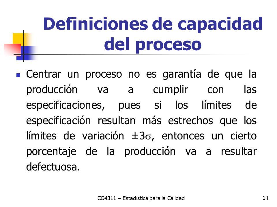 14 Centrar un proceso no es garantía de que la producción va a cumplir con las especificaciones, pues si los límites de especificación resultan más es
