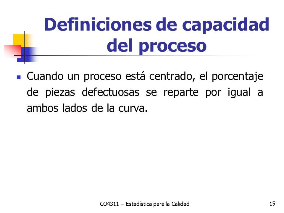 15 Cuando un proceso está centrado, el porcentaje de piezas defectuosas se reparte por igual a ambos lados de la curva. CO4311 – Estadística para la C