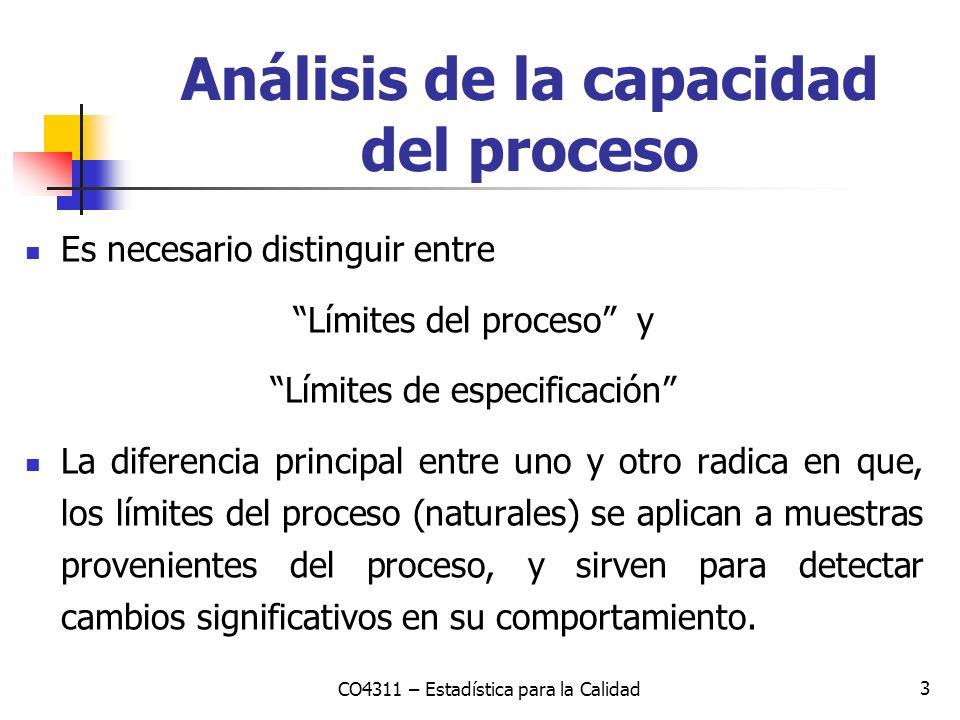 4 Análisis de la capacidad del proceso Mientras que los límites de especificación se aplican para cada pieza individualmente, y representan las dimensiones que debe cumplir para satisfacer los requerimientos de calidad.
