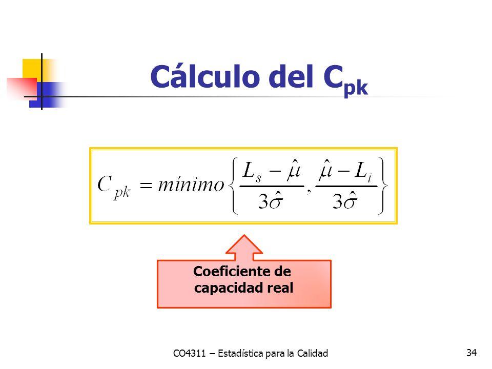 34 Cálculo del C pk CO4311 – Estadística para la Calidad Coeficiente de capacidad real