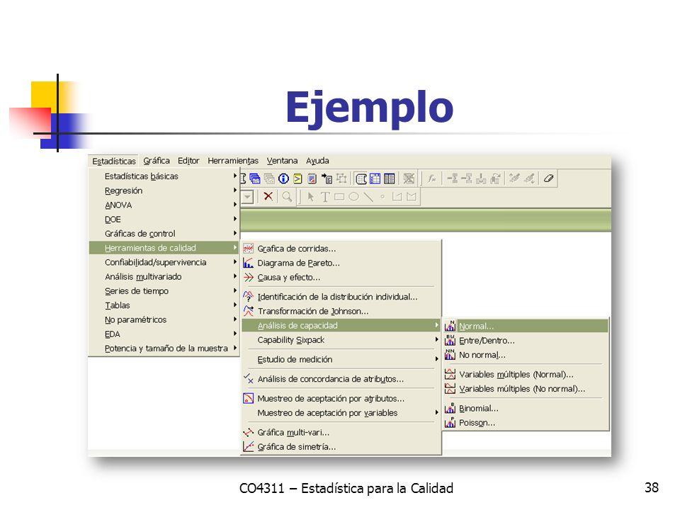 38 Ejemplo CO4311 – Estadística para la Calidad