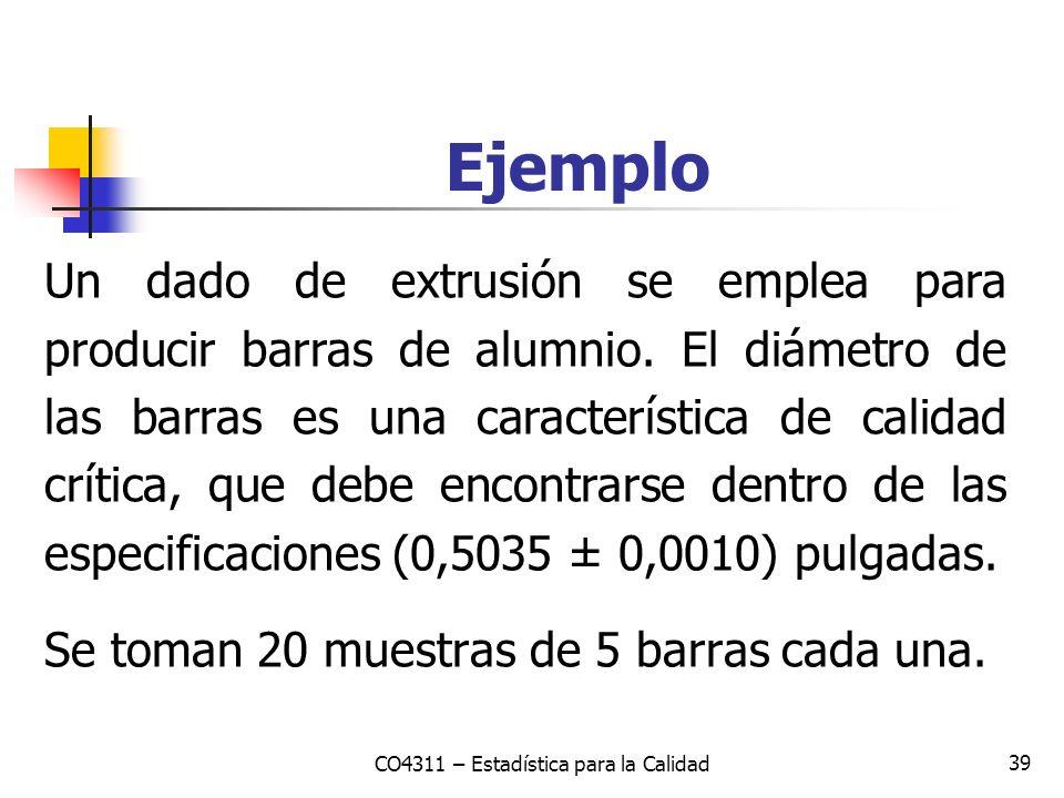 39 Ejemplo CO4311 – Estadística para la Calidad Un dado de extrusión se emplea para producir barras de alumnio. El diámetro de las barras es una carac
