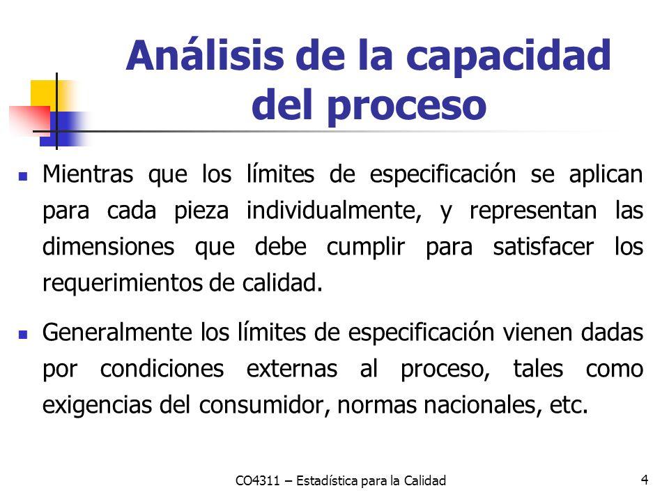 4 Análisis de la capacidad del proceso Mientras que los límites de especificación se aplican para cada pieza individualmente, y representan las dimens