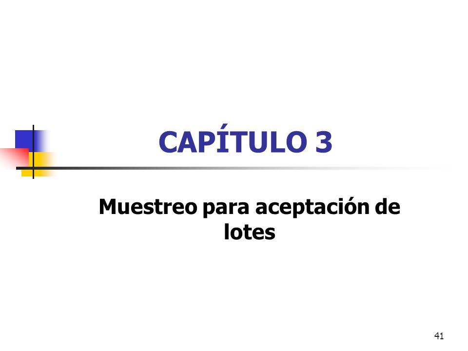 41 CAPÍTULO 3 Muestreo para aceptación de lotes