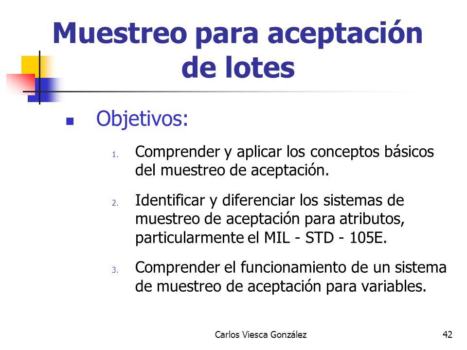 Carlos Viesca González42 Muestreo para aceptación de lotes Objetivos: 1. Comprender y aplicar los conceptos básicos del muestreo de aceptación. 2. Ide
