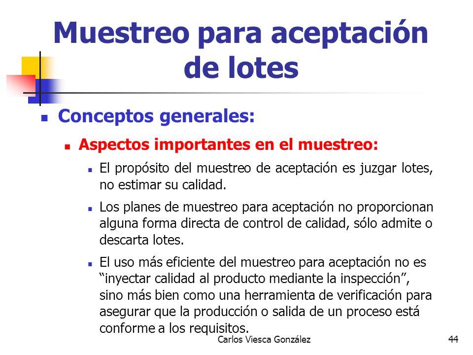 Carlos Viesca González44 Conceptos generales: Aspectos importantes en el muestreo: El propósito del muestreo de aceptación es juzgar lotes, no estimar