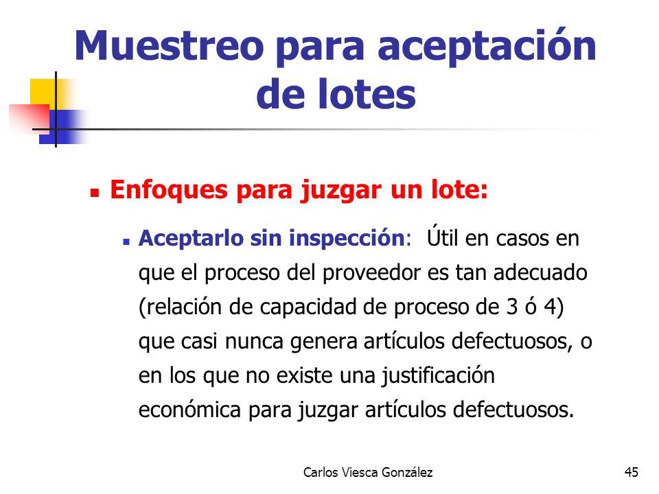 Carlos Viesca González45 Enfoques para juzgar un lote: Aceptarlo sin inspección: Útil en casos en que el proceso del proveedor es tan adecuado (relaci