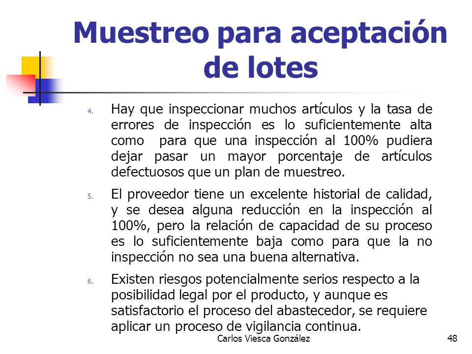 Carlos Viesca González48 4. Hay que inspeccionar muchos artículos y la tasa de errores de inspección es lo suficientemente alta como para que una insp