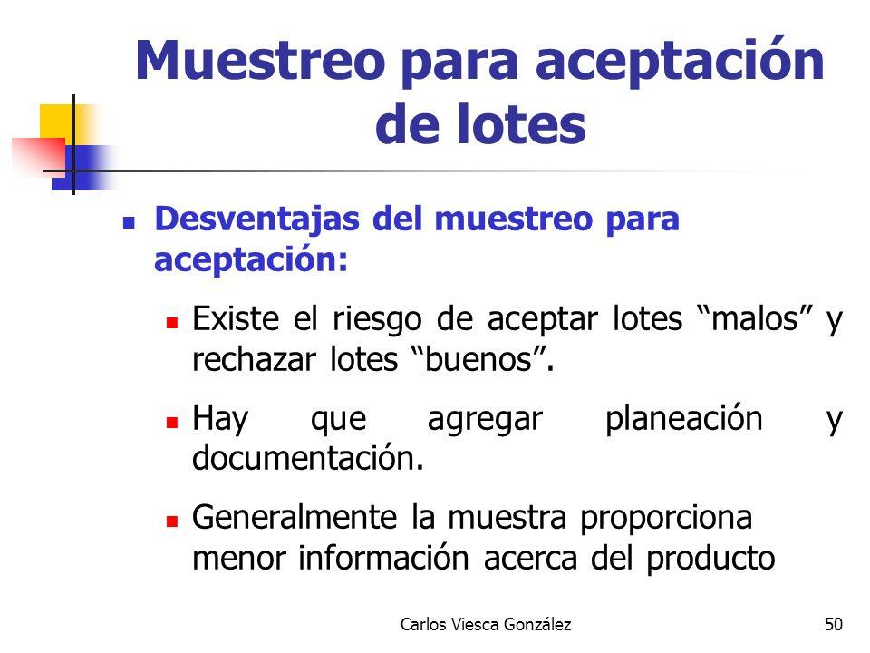 Carlos Viesca González50 Desventajas del muestreo para aceptación: Existe el riesgo de aceptar lotes malos y rechazar lotes buenos. Hay que agregar pl