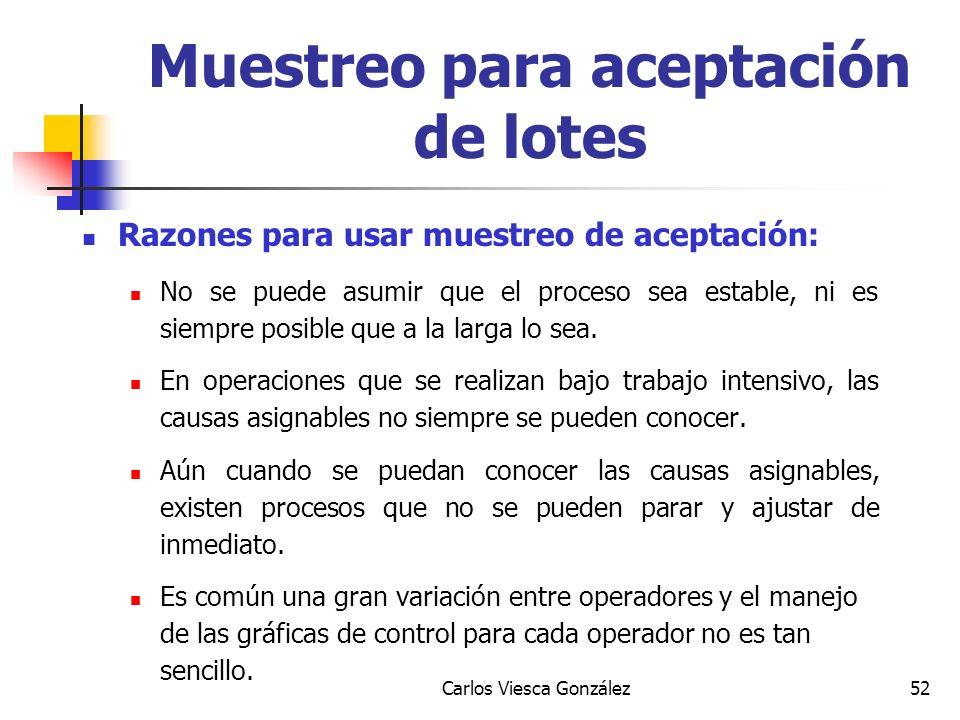 Carlos Viesca González52 Razones para usar muestreo de aceptación: No se puede asumir que el proceso sea estable, ni es siempre posible que a la larga