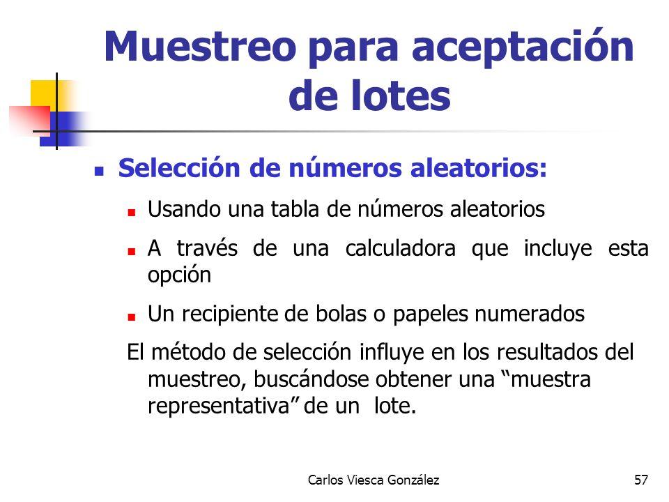 Carlos Viesca González57 Selección de números aleatorios: Usando una tabla de números aleatorios A través de una calculadora que incluye esta opción U