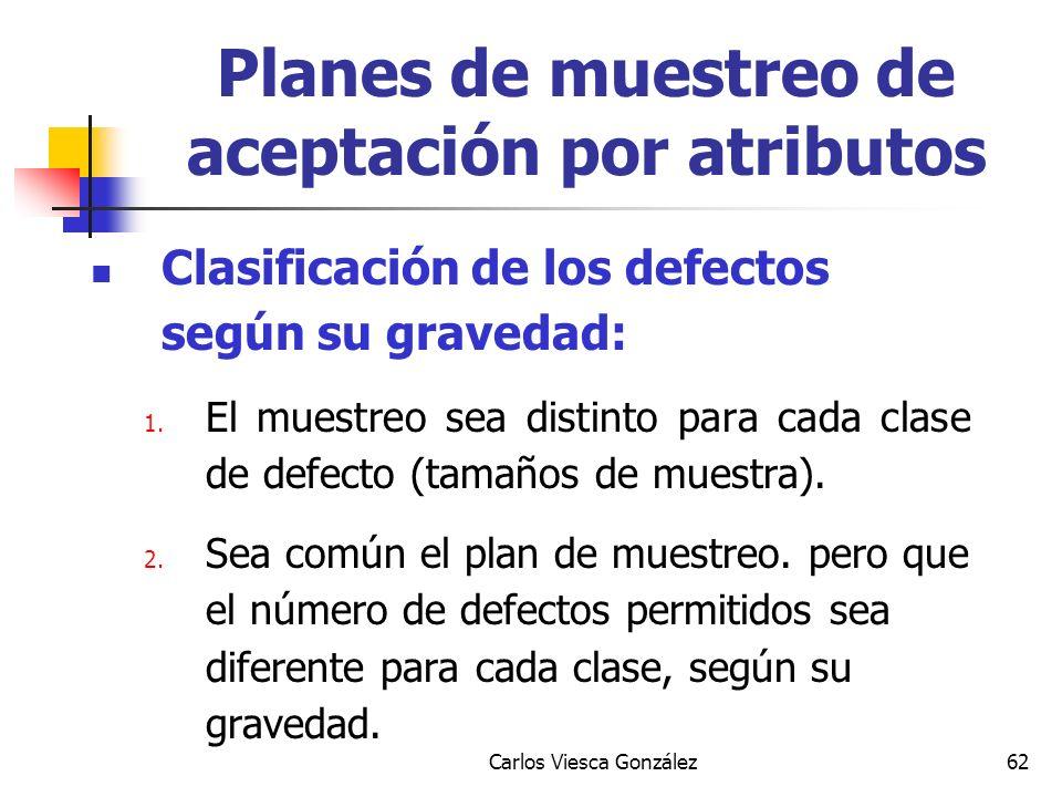 Carlos Viesca González62 Clasificación de los defectos según su gravedad: 1. El muestreo sea distinto para cada clase de defecto (tamaños de muestra).