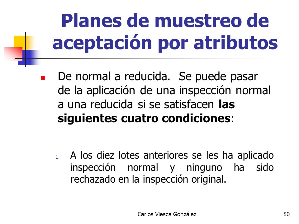 Carlos Viesca González80 De normal a reducida. Se puede pasar de la aplicación de una inspección normal a una reducida si se satisfacen las siguientes