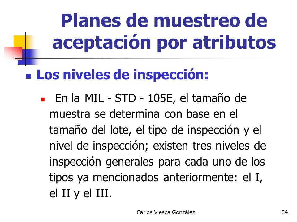 Carlos Viesca González84 Los niveles de inspección: En la MIL - STD - 105E, el tamaño de muestra se determina con base en el tamaño del lote, el tipo