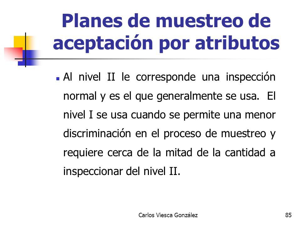 Carlos Viesca González85 Al nivel II le corresponde una inspección normal y es el que generalmente se usa. El nivel I se usa cuando se permite una men
