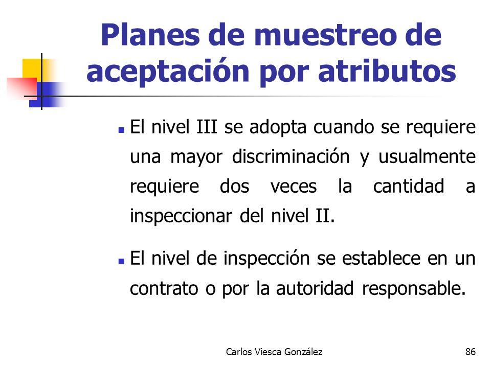 Carlos Viesca González86 El nivel III se adopta cuando se requiere una mayor discriminación y usualmente requiere dos veces la cantidad a inspeccionar