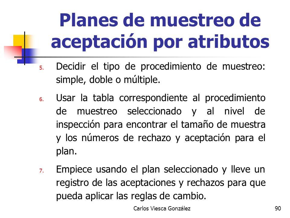 Carlos Viesca González90 5. Decidir el tipo de procedimiento de muestreo: simple, doble o múltiple. 6. Usar la tabla correspondiente al procedimiento
