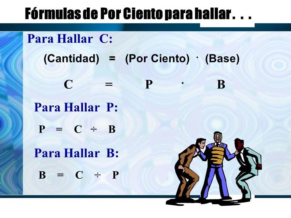 Fórmulas de Por Ciento para hallar... (Cantidad) = (Por Ciento).
