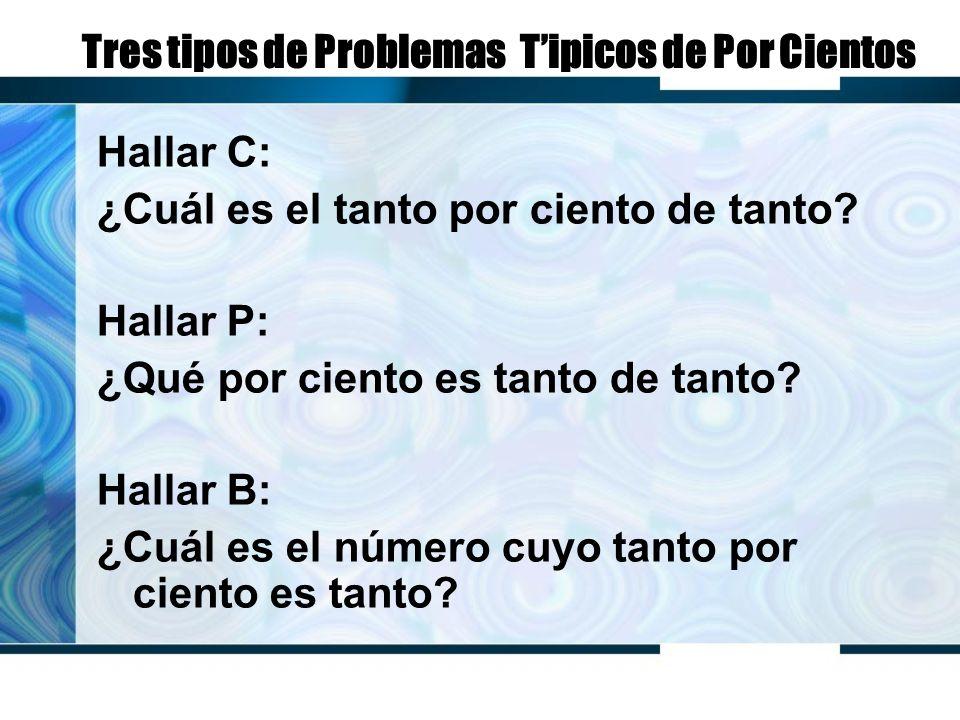 Tres tipos de Problemas Tipicos de Por Cientos Hallar C: ¿Cuál es el tanto por ciento de tanto.