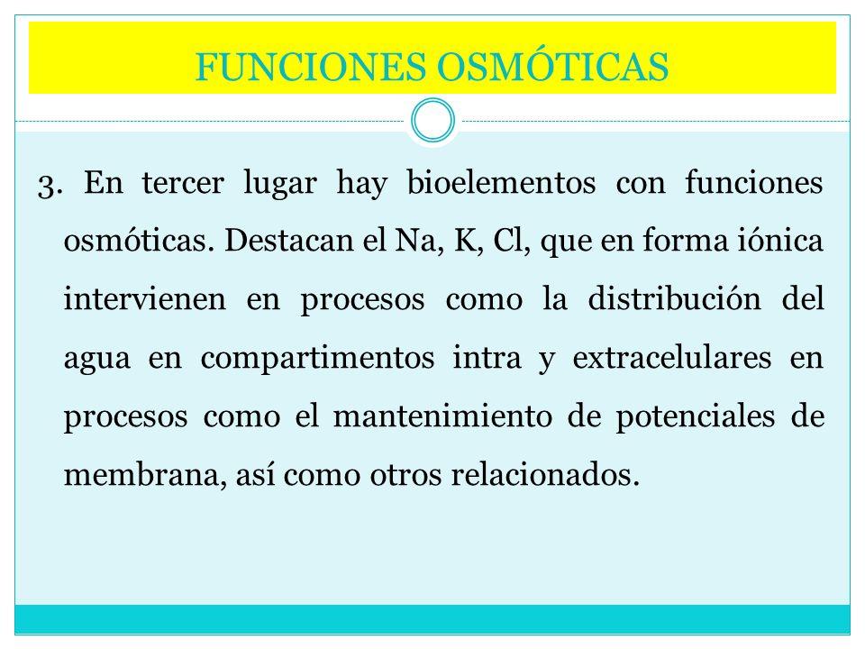 FUNCIONES OSMÓTICAS 3. En tercer lugar hay bioelementos con funciones osmóticas. Destacan el Na, K, Cl, que en forma iónica intervienen en procesos co