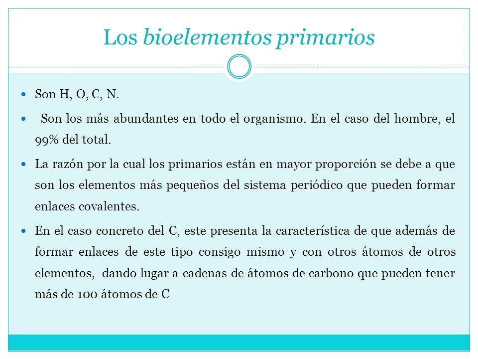 Los bioelementos primarios Son H, O, C, N. Son los más abundantes en todo el organismo. En el caso del hombre, el 99% del total. La razón por la cual