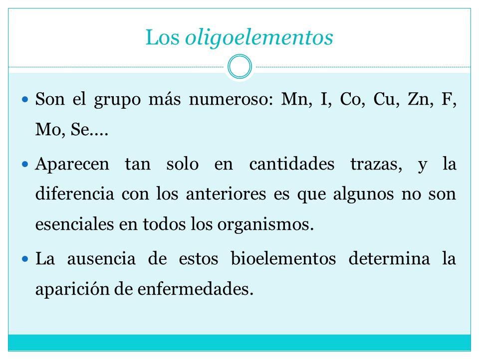 Los oligoelementos Son el grupo más numeroso: Mn, I, Co, Cu, Zn, F, Mo, Se.... Aparecen tan solo en cantidades trazas, y la diferencia con los anterio