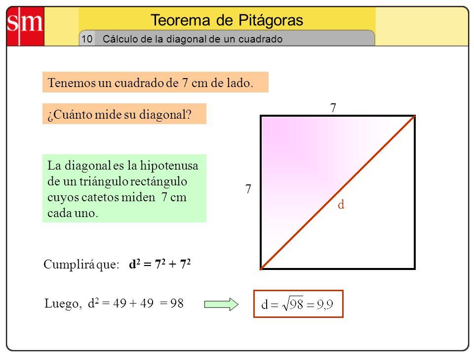 Teorema de Pitágoras 9 Reconociendo triángulos rectángulos Un carpintero ha construido un marco de ventana. Sus dimensiones son 60 cm de ancho y 80 de