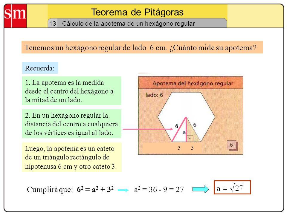 Teorema de Pitágoras 12 Cálculo de una diagonal de un rombo Tenemos un rombo cuya diagonal mayor mide 24 cm y su lado mide 15 cm,. La medias diagonal
