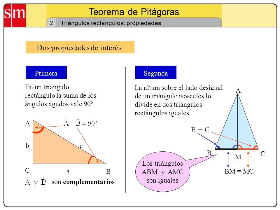 Teorema de Pitágoras 1 Triángulos rectángulos Un triángulo es triángulo rectángulo si tiene un ángulo recto. C B A b a c Ángulo recto Los catetos son