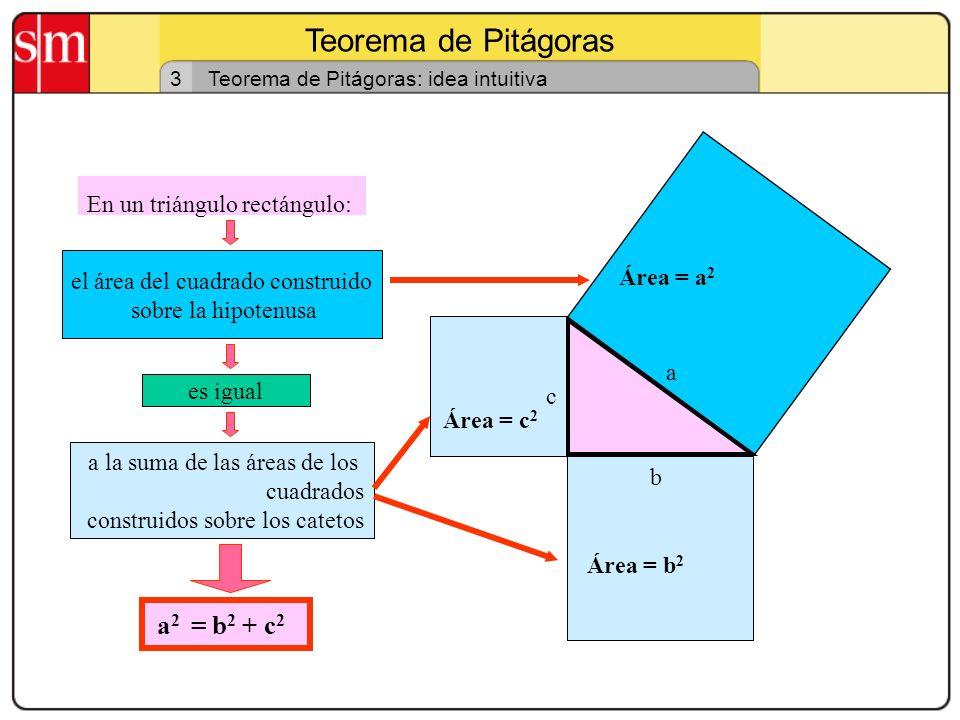 Teorema de Pitágoras 2 Triángulos rectángulos: propiedades Dos propiedades de interés: C B A a c b Primera En un triángulo rectángulo la suma de los á
