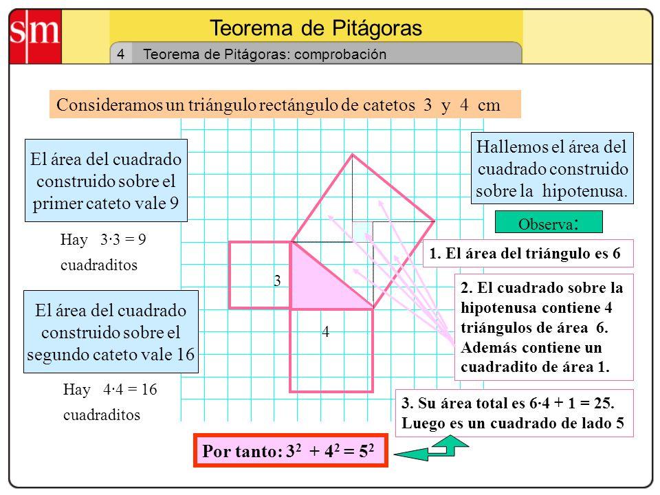 Teorema de Pitágoras 3 Teorema de Pitágoras: idea intuitiva En un triángulo rectángulo: c a b Área = c 2 Área = a 2 Área = b 2 el área del cuadrado co
