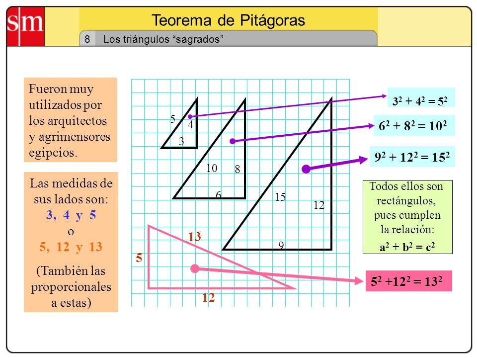 Teorema de Pitágoras 7 Teorema de Pitágoras: ejercicio segundo En un triángulo rectángulo un cateto mide 6 cm y la hipotenusa 10 cm. Calcula el valor