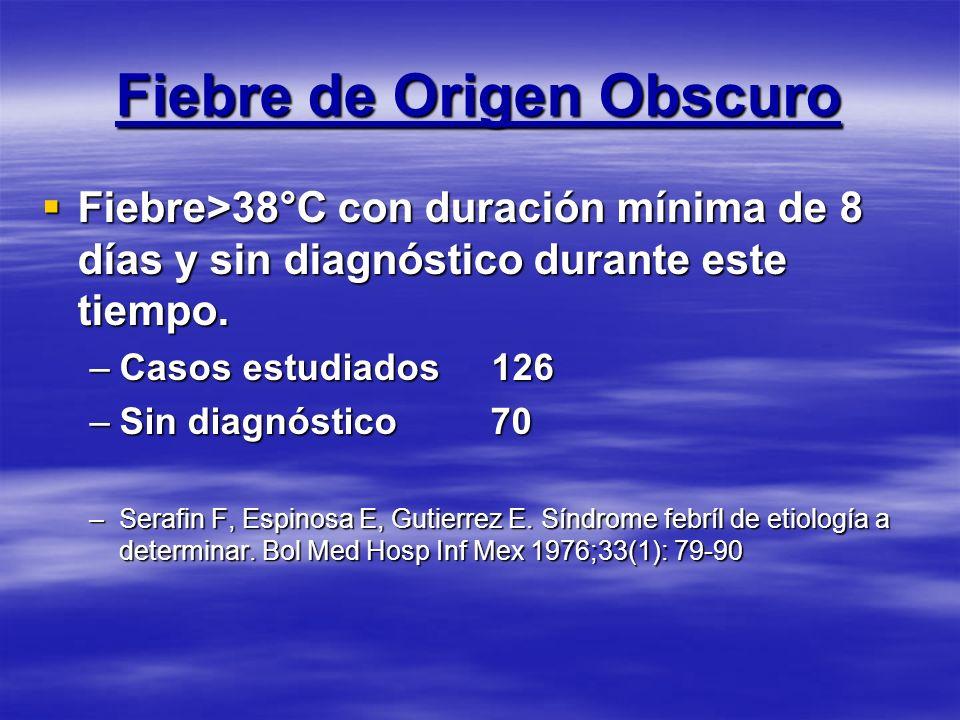 Fiebre de Origen Obscuro Fiebre>38°C con duración mínima de 8 días y sin diagnóstico durante este tiempo. Fiebre>38°C con duración mínima de 8 días y